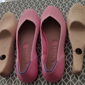 Rothy's Pink Flats with Blue Stripe